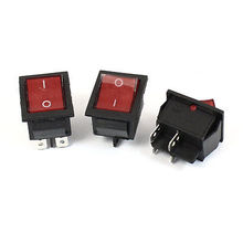 High quality  AC 220V 15A 4Pin DPST ON/OFF Red Indicator Lamp Rocker Switch 3 Pcs
