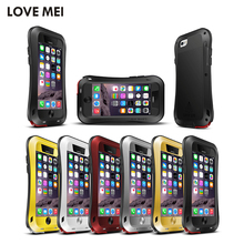 Lovemei Powerful Series for iPhone 6 iPhone6s Metal Case with Tempered Glass Outdoor Cases Resist Water Rainning Super Protect