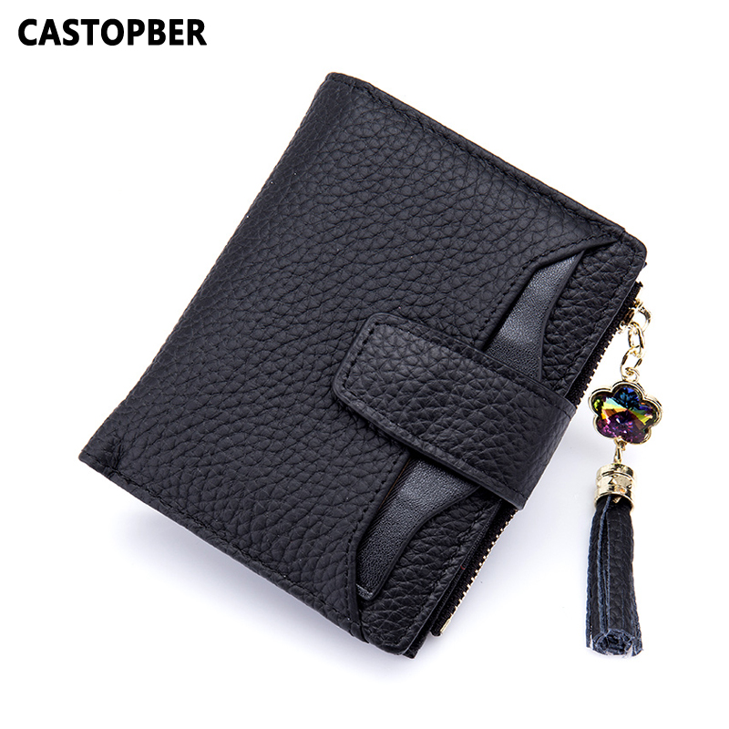 New Fashion Short Real Cowhide Genuine Leather Women Wallets Small Tassel Wallet Coin Purse Pocket Female Card Holders Money Bag<br>