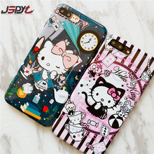 JSPYL Cartoon Hello Kitty Phone Bag Cases For iPhone 8 7 Plus 6 6s Plus Back Cover Soft Silicone Case Shell For iPhone 7 Fundas(China)