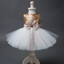 2017 Baby Flower Girls Dress Sequins Bow 100% High Quality Dress Princess Party Gown Formal Dress Tops Dress Costume(China)