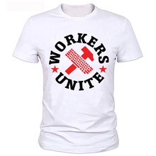 2017 New Summer CCCP Flag Style T Shirt Funny Workers Unite Printed Men Hipster T-shirts Plus Size Clothing