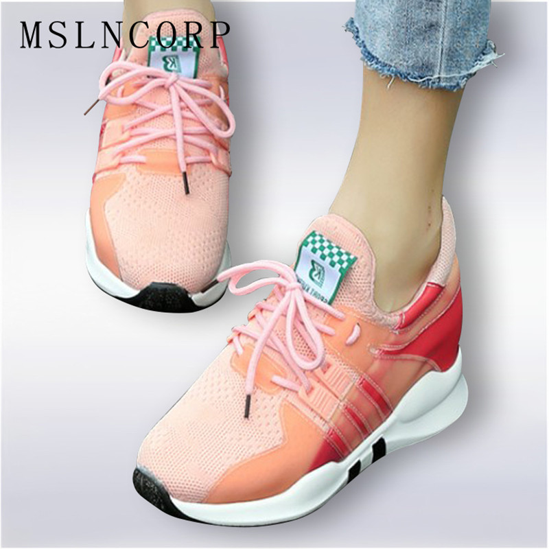 Plus Size 34-45 Fashion Spring Autumn Mixed Color Lace Up Women Casual Shoes Height Increasing Sport Fashion Walking Flats Shoes<br>