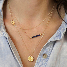 17KM Unique Charm Brand Design Gold Color 3 Layer Clavicle Chain Bar Necklace Long Choker Necklace & Pendant Jewelry For Women