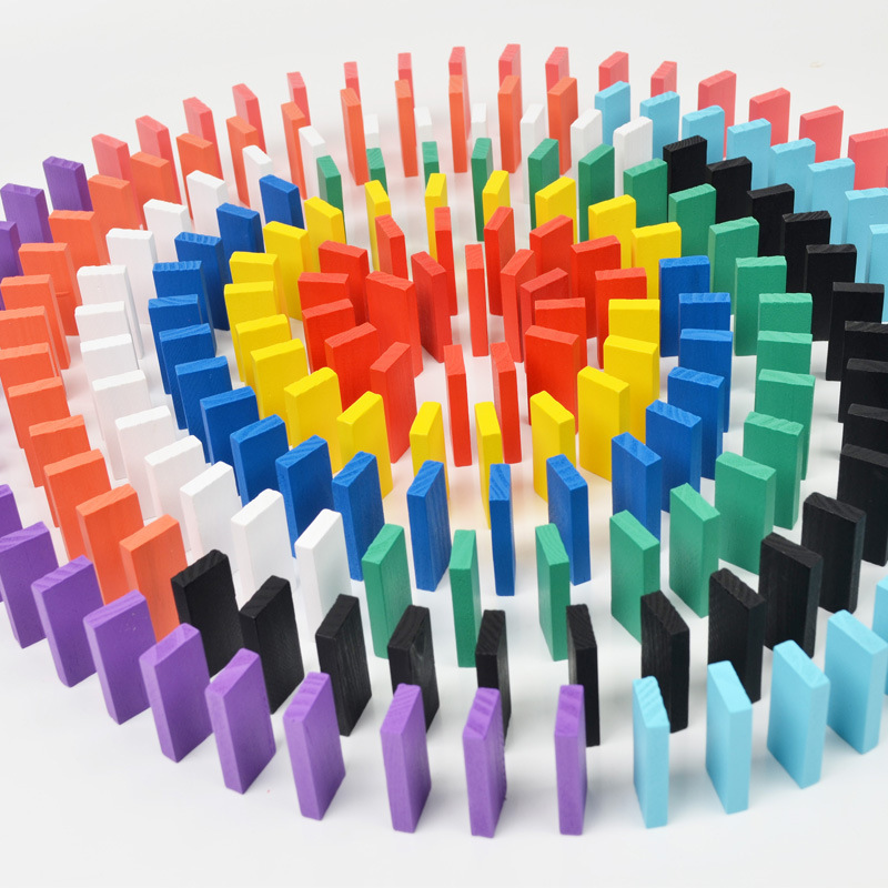 200Pcs Wooden Domino Toys For Childrens Competition Standard And Adult Educational Pass Through Building Blocks Toy<br>
