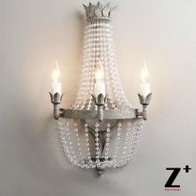 American French Vintage Dauphine Crystal Metal Wood Beads Sconce Crystal Sconce Style Wall Lamp  Lustre Lighting