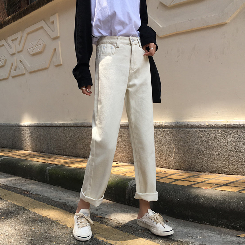 Mihoshop Ulzzang Korean Korea Women Fashion Clothing High Waist Denim White Basic Trousers Straight Denim Jeans Pants