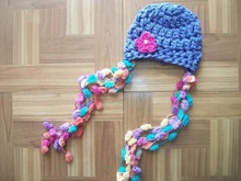 free shipping,Newborn Babys Photo Prop Pixie Hat Long Loose Pom Pom Tassels Crochet in blue(China)
