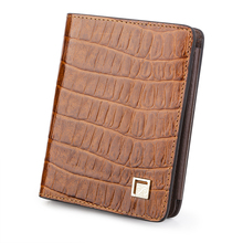 Light Brown Crocodile pattern Real Cowhide Genuine Leather Wallets Men Bifold Coin Purses ID Credit Card Holder Portefeuille