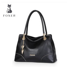 FOXER  Female simplicity Fashion genuine leather bag The first layer of cow Leather handbag