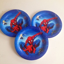 HOT 10pcs/set Spiderman Plate Cartoon Theme Party For Kids Happy Birthday Decoration Theme Party Supply spiderman party supplies(China)