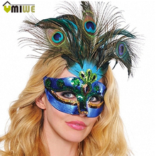 New Women Elegant Peacock feather Mask Girls Costume Sexy Prom Party Halloween Christmas Masquerade Dance Masks Accessories(China)