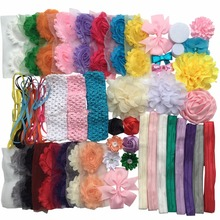 DIY Newborn headband Kit - Make 42 Headbands and 2 Sequin Bows and 3 Knit headband - Hair Bow (with instructions) A076-14