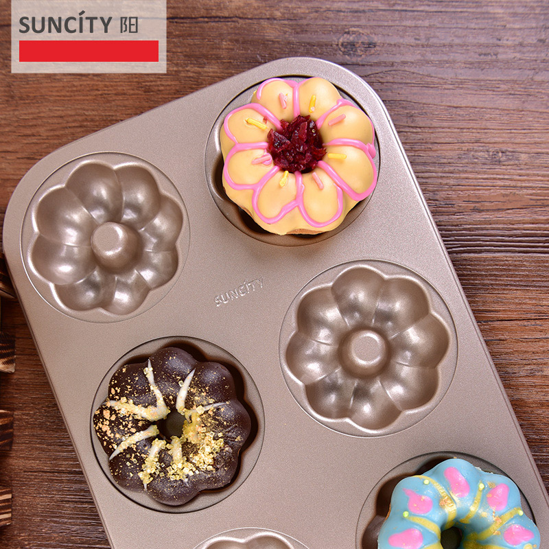 Non-stick Metal Flower Donut Maker Mold Confeitaria Pastry Stencils Bakeware 3D Forms For Doughnut Cupcakes Bread Baking Pan(China)