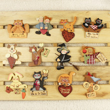 2pcs Sweet village cat kids wooden handmade Fridge Magnets sticker bar Figures home kitchen decoration party supply kids gifts(China)