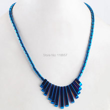 "Free Shipping Natural Blue Ray Hematite No Magnetic Gem 13Pcs Stick Graduated Beads Pendant Necklace 17.5"" Women Jewelry IF3063(China)"
