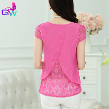 Women Lace Chiffon Patchwork Blusas 2016 Summer Short Sleeve Blouse Korean Style Asymmetrical Ladies Clothes Tops Chemise Femme