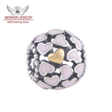 Silver Abundance of Love with Pink Enamel Charms and gold heart 925 Sterling Silver Big Hole Beads fit brand bracelets DIY GD024