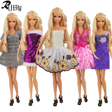 New arrvial 5 Pcs / lot Fashion girl Party Doll's evening Dress Clothes Gown For Barbie doll Free shipping(China)