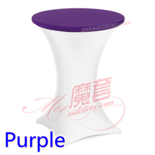 Purple colour spandex top cover for round cocktail lycra table cloth wedding banquet party cocktail table decoration sale