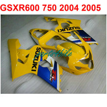 Yellow blue gsxr 600 Fairing kit For Suzuki 750 2004 2005 04 05 ( 100%Abs) Motorcycle road fairings free EMS m32