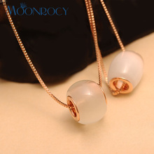 MOONROCY Free Shipping Jewelry wholesale Rose Gold Color Cymophane Opal Crystal Necklace cute for women gift choker