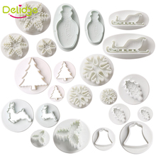 Delidge 22 pcs/set Christmas Cookie Mold  Plastic Sled Tree Snow Leaf Bell Shape Cake Cutters Biscuit Decorating Mold Set