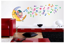 50*70CM Cartoon Music Note Wall Stickers For Kids Rooms Moon Girl Pattern Children Sticker Wall Home Decoration Accessories Y158