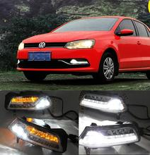 Crazy sales! Auto accessory Daylight fog lamp cover Led DRL Daytime Running lights for Volkswagen VW Polo  2014 2015