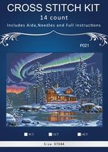 1th Dimensions35212_Aurora Кабины 16 14ct вышивки крестом, Наборы для ухода за кожей Вышивка комплекты, белый Аида Happy Рождество Счетный крест-колющими(China)
