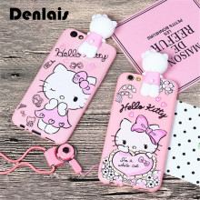 Cute Cartoon 3D Hello Kitty Cat Case For iPhone 7 7Plus 6 6S Plus 5 Cover With Lanyard Strap Soft Silicon Protective Phone Case