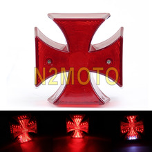 Tail Lamp Red Brake Lamp License Plate Brake Stop Tail Light Maltese Cross LED Tail Light Foe Chopper Bobber Custom Motorcycle(China)