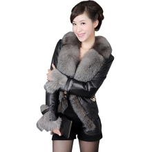 2017 Winter New Women PU Leather Fur Coat Ladies Long Sleeve Warm Fur Jackets Fashion Faux Mink Coat Female Casual Parkas LYL128