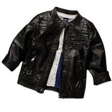 Boys PU Leather Jacket Black Coats Autumn Spring Clothes 2017 Children Outerwear For Clothing Infant Kids Coat Baby Boy Jackets(China)