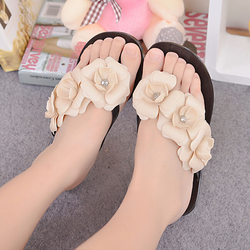 2016 Summer Women Flip Flop Big Camellia Candy Colors Women Sandals Female Clogs Beach Shoes Flats Women Shoes 5d71T<br><br>Aliexpress
