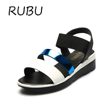 Hot Sale Women Summer Shoes Elastic Band Strap Sandals Breathable PU Peep-toe Flat Heels Espadrilles Mujer Ladies Wedge Footwear
