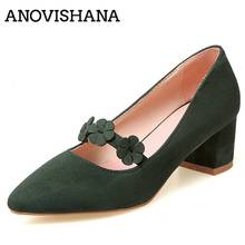 ANOVISHANA Spring Womens shoes Green Suede Nubuck Flower Sweet Pointed toe Square low heels Lady Pumps shoe Plus size 43 D047