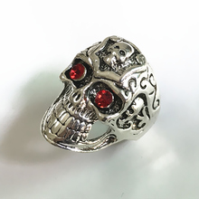 Hot Sale Stainless Steel Ring Skull Head Rings Retro Red Eyes Skeleton Ring Personality Punk Crystal Jewelry Wholesale Cheap(China)
