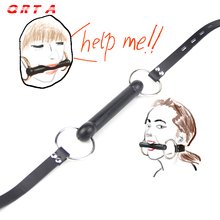 Buy QRTA Hot Black Sex Bondage Faux Leather Stick Mouth Gag Dog Bone Harness Stick Gag Fetish sex toys adult product games