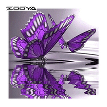 ZOOYA Diy Diamond Purple Butterfly Point Of Water 5d Diy Square Diamond Mosaic Painting Cross-Stitch Beadwork Embroidery BB435