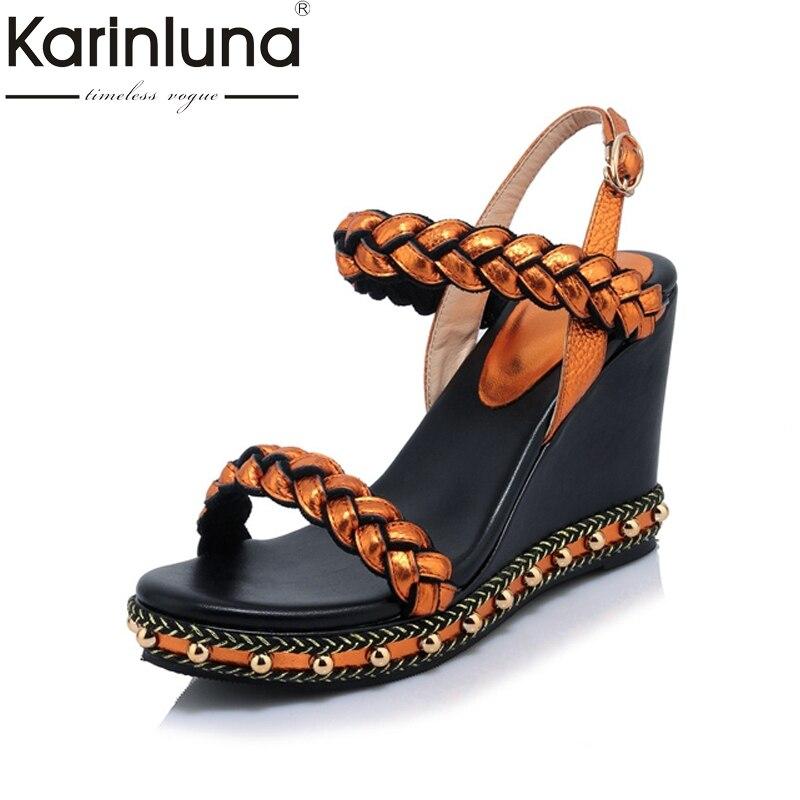 KARINLUNA 2017 Genuine Leather Buckle Strap Women Open Toe Cutout Sandals Summer Wedges Platform Bordered Shoes Big size33-40<br>