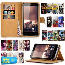 For Gigabyte GSmart Guru G1 Akta A4 Case Leather Universal Printed Wallet Adjustble Magnetic Stand Flip Cover Bag Middle Size(China)