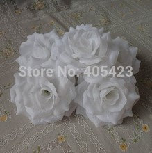 Wholesale WHITE COLOR 100pcs/lot 10cm Silk Rose Heads Artificial Flower Open Roses for Kissing Ball Flowers DIY Wedding Supplies