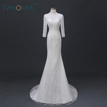 Buy Real Photo Ivory Half Sleeve Mermaid Lace Bridal Gown Open Back Sexy Backless Wedding Dresses vestidos de novia sirena ASAW06 for $218.41 in AliExpress store
