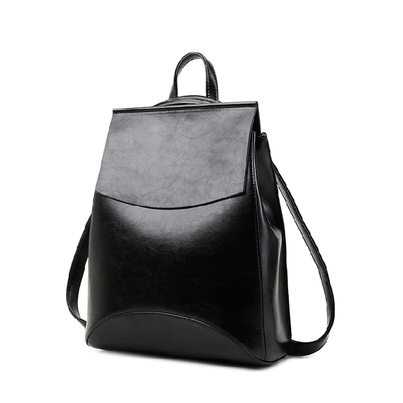 2017 new female bag leather shoulder bag Korean version of College Wind minimalist casual leather multifunction women backpack<br><br>Aliexpress