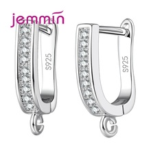 Jemmin  Real Pure 100% 925 Sterling Silver Earrings Smooth Hoop Diamond  Earrings Accessories for Women Geometric Design 1 Pair.
