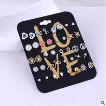 2016 Hot Claire Fashion Women Accessories Stud Earring Set Stars Cross Rose Flower Love Heart Pearl Wholesale Earrings 20 Pairs(China)