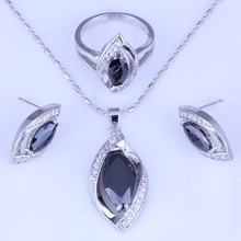 Excellent Black Imitation Onyx & White Cubic Zirconia Earrings/Pendant Necklace/Rings 925 Stamp Silver Color Jewelry Sets H0242