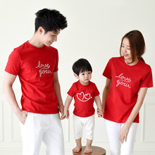 2017 hot sale Family fitted summer Kids cotton t-shirt Family Pack mother father baby red white tshirt factory direct 1-10 year(China)