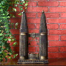 3D Resin Craft Architectural Petronas Twin Tower Ornament Novelty Craft Birthday Gift For Friend Vintage Home Decor Accessory(China)